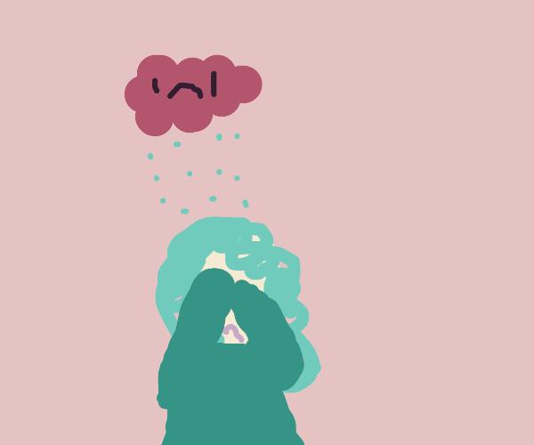 A beautiful woman crying