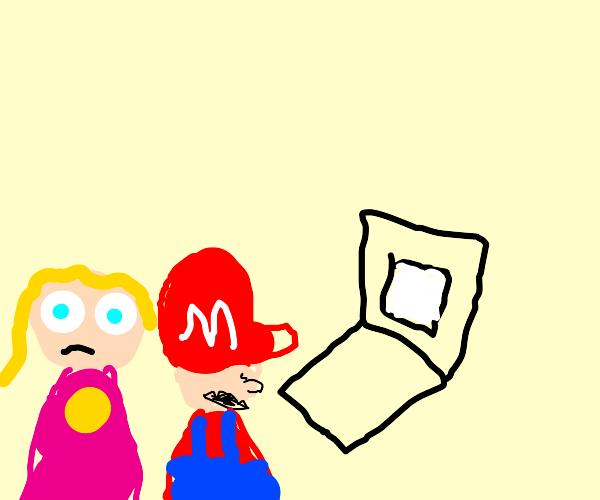 Mario looking a peach's history