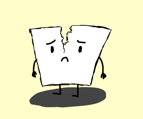 Piece of paper is sad because has been ripped