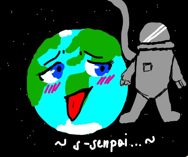 Astronaut leaving Earth-chan