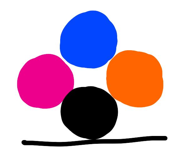 Four circles (blue orange pink black) by line