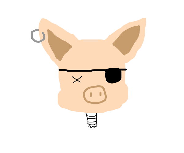 Pirate pig is butchered