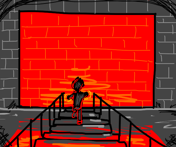Guy walking into a wall of red