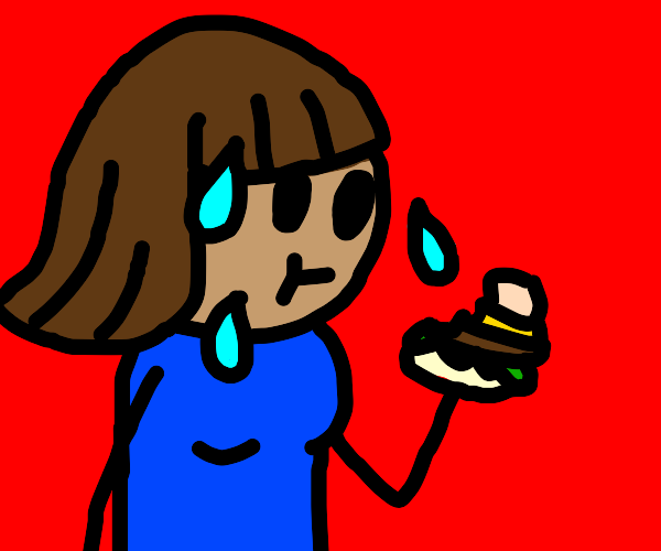 sweaty woman eats burger