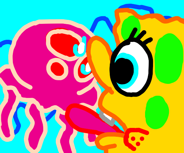 spongebob trying to lick jellyfish