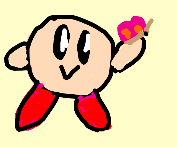 Kirby loves his butterfly friend