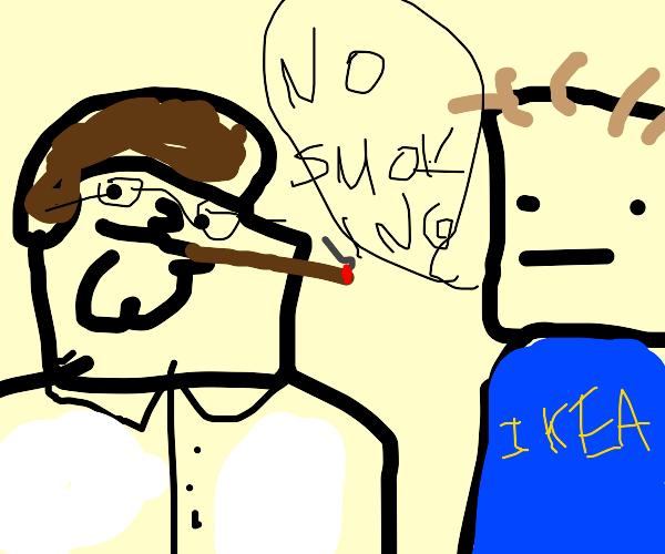 IKEA employee tells Peter Griffin no smoking
