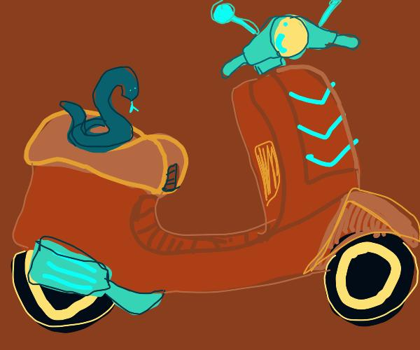 Blue snake on a vespa
