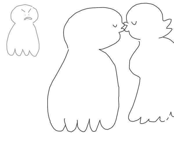 ghost irritated at other two ghosts kissing