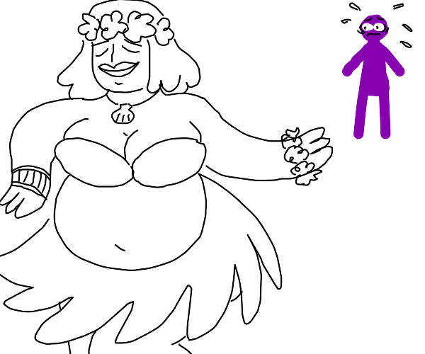 Purple guy follows thicc Hawaiian girl
