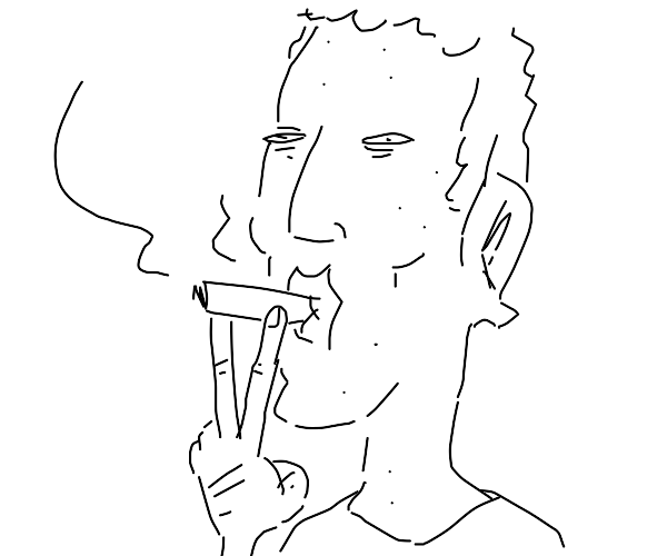 Mark Zuckerberg smokes with cheese on head