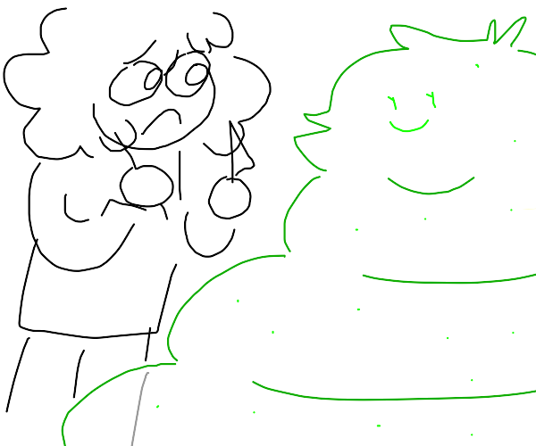 Man doesn't want to eat green blob