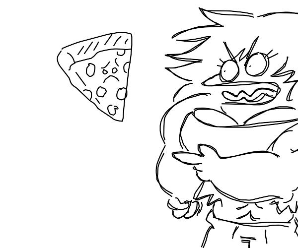 Buff evil dude tells slice of pizza to die