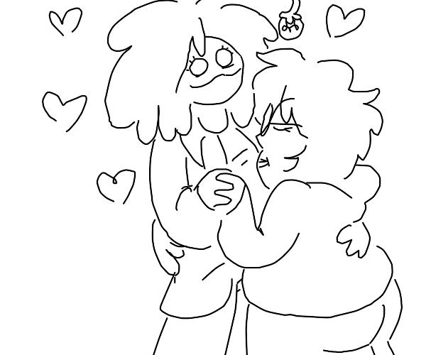 Hugging lovers