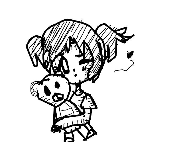 Cute li'l girl with her teddy bear