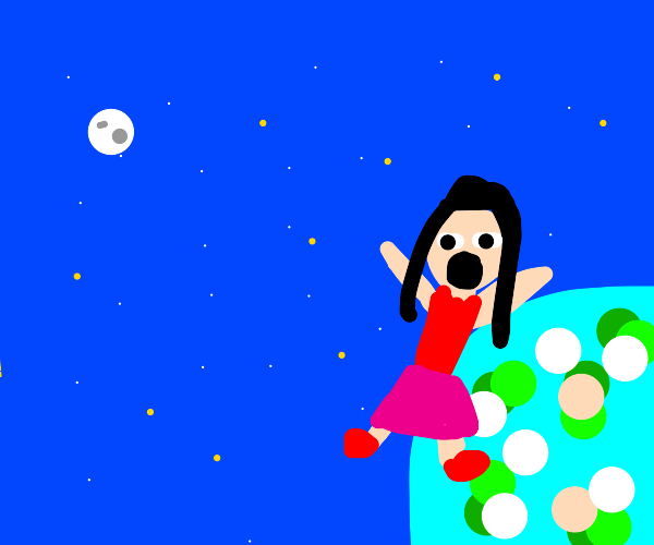 Girl in space leaving earth