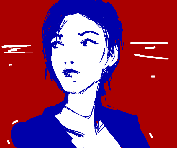 Young woman in blue and white, red background