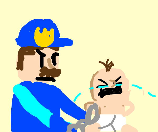 a policeman arresting an innocent baby oh no