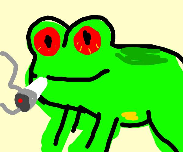 Frog with bloodshot eyes