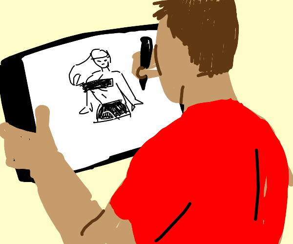 Artist Drawing A Girl With CENSORED Bar