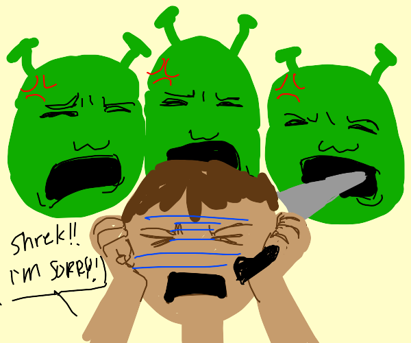 person with knife is berated by 3 shrek heads