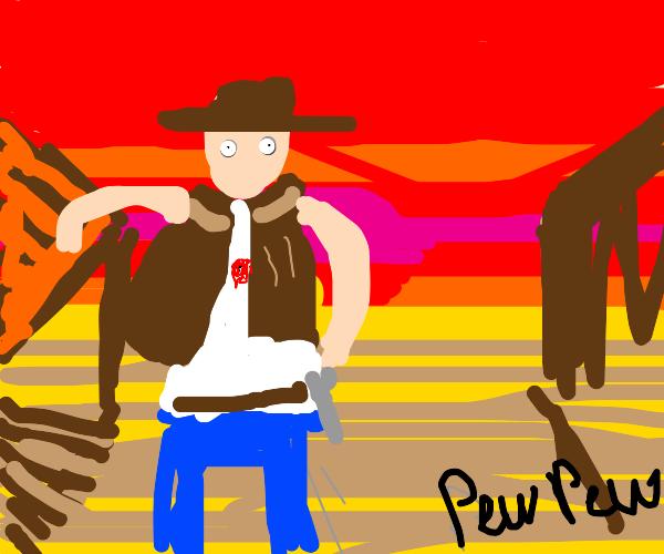 Cowboy gets shot