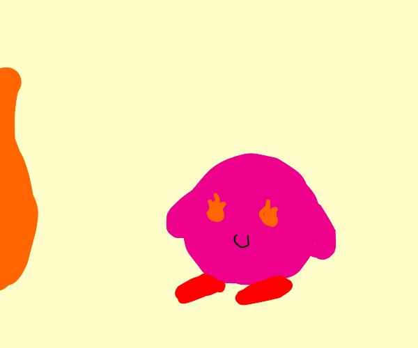 Kirby watches it burn