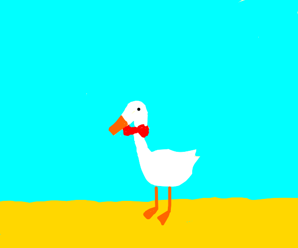 White goose with a red bow in the field