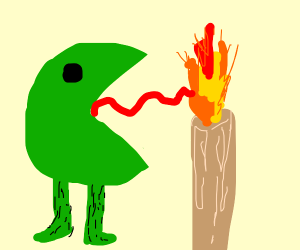 Pacman frog with hairy legs licks candle fire