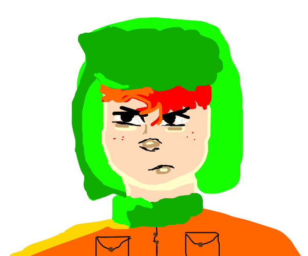 green hatted red haired orange suited person