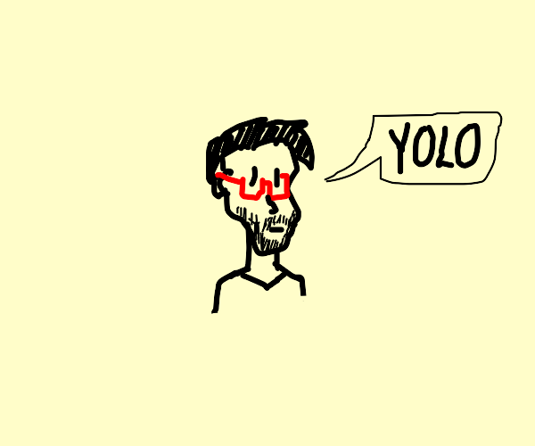 Cute guy with red glasses saying yolo