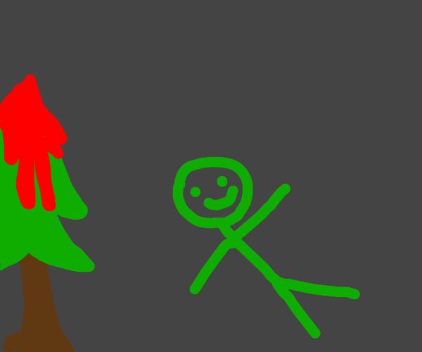 green man walks through bloody forest