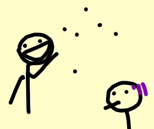 person laughs at dots