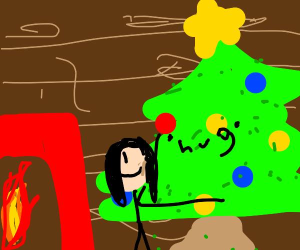 Hugging the Christmas Tree