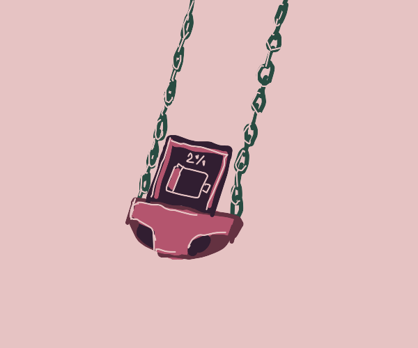 Low battery phone on a swing
