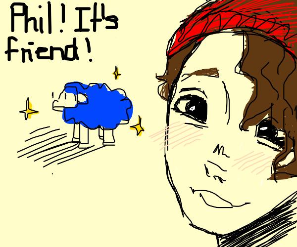 A blue sheep named friend