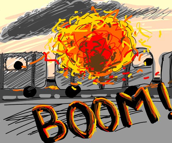 train gets blown up