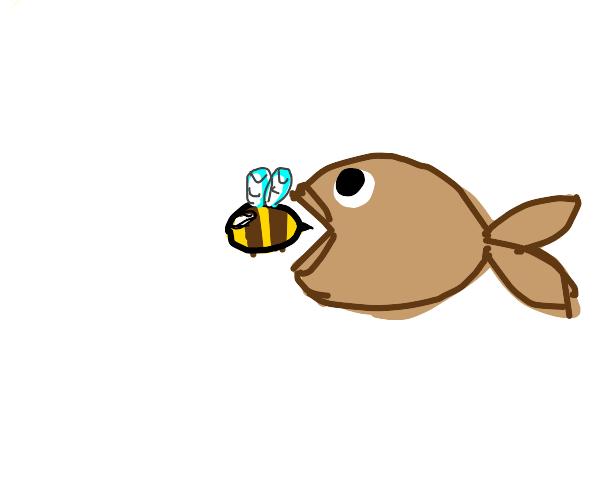 brown fish eats a bee