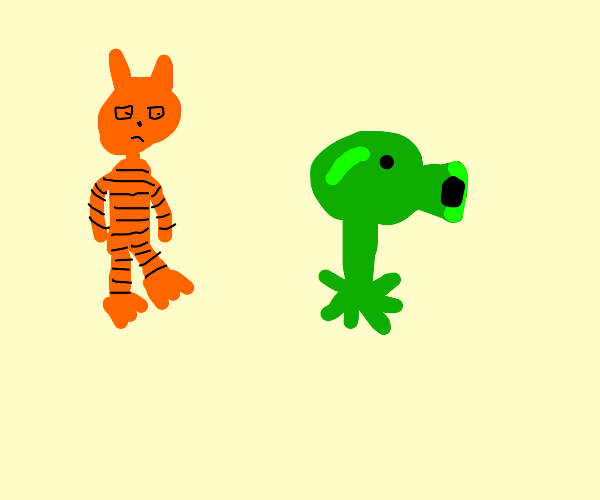 Garfield and Bellsprout from Plants v Zombies