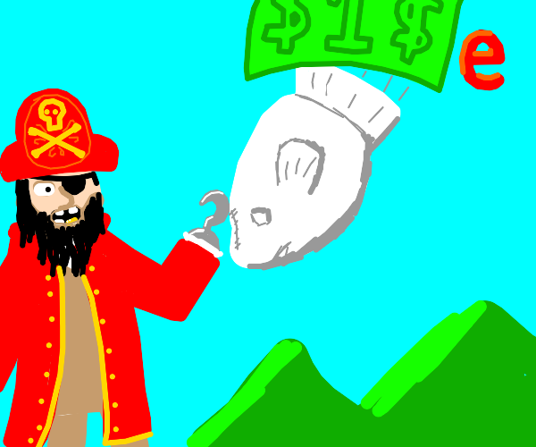 Redcoat pirate riding a cloud fish from bucke