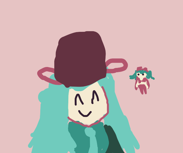 Miku wearing a bucket and Gumi in the bg