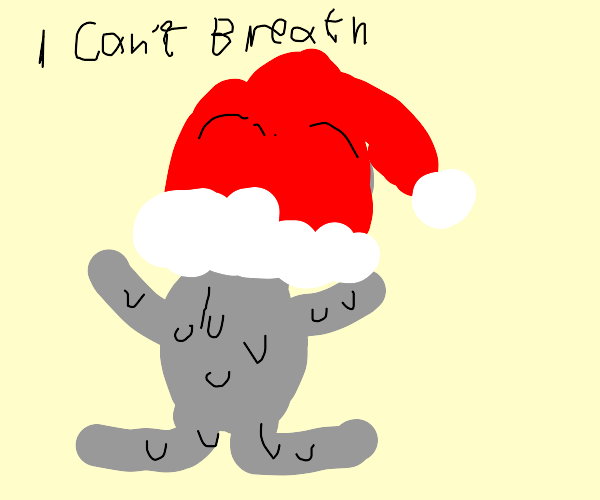 Grey bear suffocated in santa hat