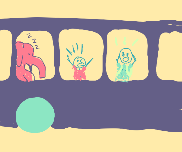 elephant sleeping on bus, kids freaking out