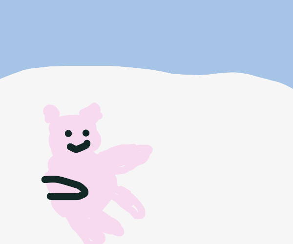 Polar bear pretending to drive a car