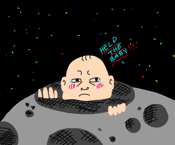 Baby in a crater