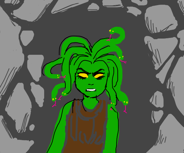 Medusa glares at you from her cave