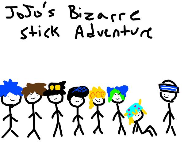 JoJo's Bizarre Adventure but w/ stick figures