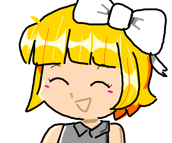 Chibi girl w/ blond hair & white bow is happy