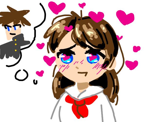 Anime girl in love