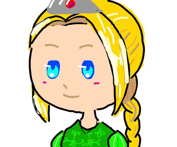 A blonde haired princess in green dress
